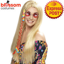 W459 Braided Hippie Long Hippy Blonde 60's 70's Retro Costume Party Wig