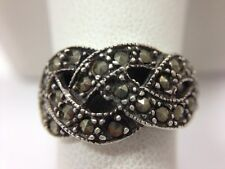 Vintage Eternity Love Knot Marcasite Ring Size 8 1/4 Sterling Silver Hematite...