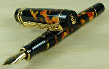 Crocodile Amber  Marble Celluloid Fountain Pen 22KGP Medium Nib Alligator Clip