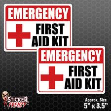 2 Pack EMERGENCY First Aid Kit Stickers - Heath Safety Vinyl Decals 1st #FS052