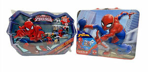 Marvel Spiderman Jigsaw Puzzles In Tin Boxes - Set of 2 - NIB