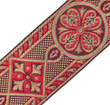 "Red & Gold  Jacquard Chasuble Medieval Chiurch Vestment Trim 2 3/8""  DIY 3 Yards"
