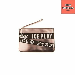 ICE PLAY Wristlet Clutch Bag Metallic PU Leather Coated Logo Zip Closure