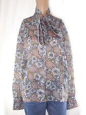 blusa donna floreale georgette trevira vintage anni 60 grigio taglia it 48 xxl
