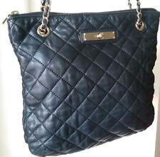 DKNY Black Shoulder Handbag Lamb Leather Quilted long Gold Chains