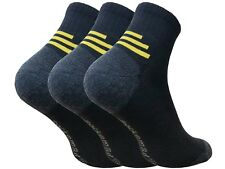 3 x Men's Quarter Trainer Work Socks Cushioned Padded Sole Contrast Heel & Toe