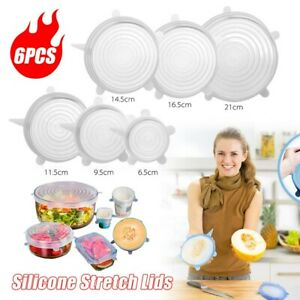 6pcs Clear Silicone Stretch Suction Lid Pot Kitchen Cover Pan Storage Bowl UK