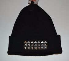 Black Beanie Hat with 3 Rows Spikes Studs by Free Authority One Size Fits Most