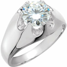 Mounting for 1 ct plus Round Diamond 14k White Gold Solitaire Mens Belcher Ring