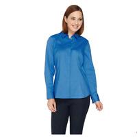 Denim & Co. Button Front Blouse with Princess Seams WHITE Color Size M