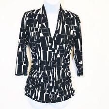 Vince Camuto Black White Geometric Print  Stretch Knit Top Shirred Sides Size XS