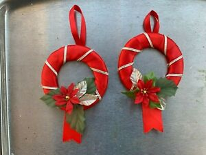 """2 x mini red/silver wreath Christmas decorations 3"""" wide"""