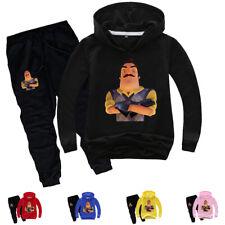 Boys Girls Kids Hello Neighbor Hoodies Pullover Sweatshirt & Pants Costumes Sets