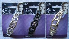 Interlocking Rings Goody Plastic Hair Barrette Metal Back Silver Gold Black Ring