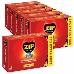 6x40 ZIP High Performance Energy Block Firelighters BBQ Open Fire Pit Chimeneas