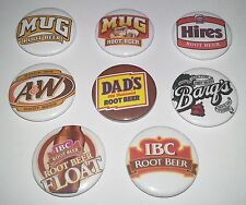 8 Root Beer button badges 25mm A&W MUG DAD'S BANG'S HIRES IBC American culture