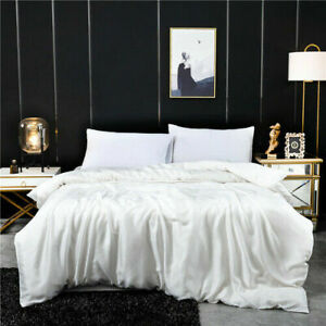 100% mulberry silk duvet cover 230x250cm solid color queen size bed cover