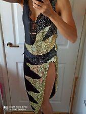 Black & Gold Latin Ballroom Dress Women's Dance Costume S/M