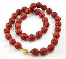 "Vintage Chinese Deep Carved Red Black Cinnabar Necklace Flower Filigree 24"" long"