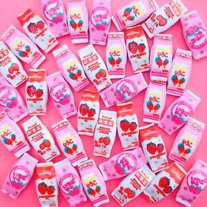 12x Mixed Kawaii Resin Strawberry Milk Cabochons Cute Decoden Craft Flatbacks