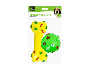 Squeaky Dog & Puppy Toy Toys - Bone and Ball 2 Pack Throw Fetch Training Train