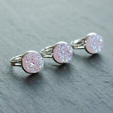 Unicorn Tear Lilac Druzy Cocktail RING- Silver Jewellery- Crystal -Adjustable