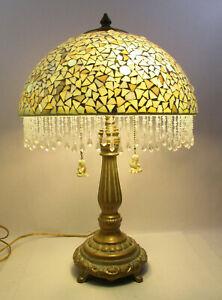 "DALE TIFFANY TABLE LAMP - MOSAIC BEADED GLASS SHADE - 21 1/2"" TALL(BMK6)"