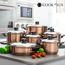 Cook D'Lux Pots & Pans Set 12 pieces, Full Stainless Steal Frying Pans Saucepans