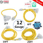 LOT 12 Gauge Heavy Duty Lighted Extension Cords 3-Outlet SJTW Indoor / Outdoor