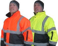 Mens Two Tone Hi Viz Reflective Bomber Padded Waterproof Warm Work Coat Jacket