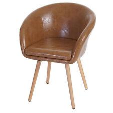 Chaise de salle à manger Malmö T633, fauteuil, rétro ~ similicuir, aspect daim