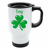 Tony - Shamrock White Reusable Travel Mug - Gift For St Patricks Irish