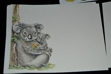 Vtg 80's Mommy & Baby 11 Note Cards w/Seals KOALA BEAR Holding Flowers Heart Co.