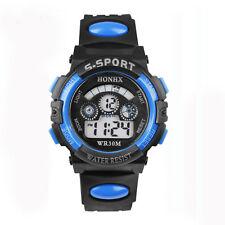 étanche Enfant Garçon Digital LED Quartz Alarme Date Montre Sport Bleu