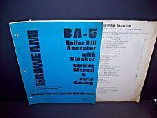 Rowe BA-5 Original 1980 Dollar Bill Change Machine Service Parts Manual Catalog