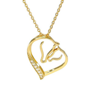Pendant Necklace Horse And Foal IN Heart Golden