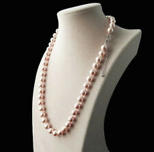 "New 8mm Light Pink South Sea Shell Pearl Necklace 18""AAA"