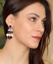 huge! Kate Spade Chandelier Earring drop dangle gem sapphire MIDNIGHT BLUE/Cream