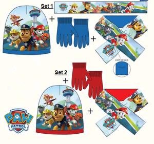 PAW Patrol Kinder Mütze Schal Handschuhe Set DISNEY Wollmütze Strick