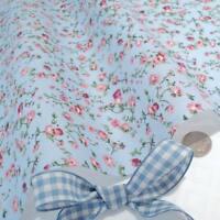 Molly - blau/rosa Blumenmuster vintage Baumwollstoff Retro PRO VOLL Meter