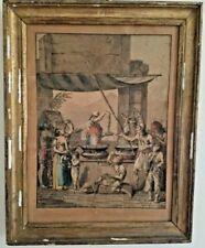 """Gravure Italienne signée ancienne en couleur """"le marchand de spaghetti"""""""