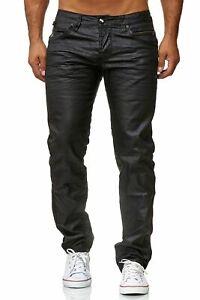 Herren Jeans Beschichtet Hose Gewachst Coated Slim Fit Leder Optik Glanz
