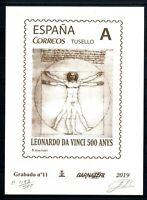 Grabado Barnafil 2019 nº 11 Leonardo Da Vinci 500 ejemplares sellos España