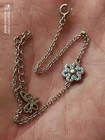 Bracelet Fleur / Papillon en argent massif et zirconium
