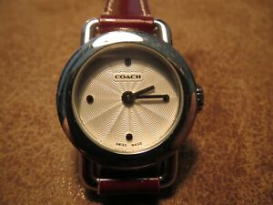 AUTHENTIC COACH CREAM DIAL BURGUNDY LEATHER WOMENS WATCH