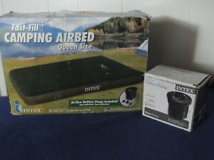 Intex Fast-Fill Camping Airbed Queen Size and Battery Pump