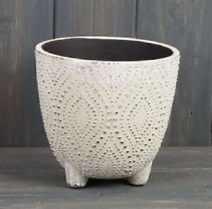 Off White Dotted Ceramic Footed Indoor House Plant Planter Flower Pot 11x12cm