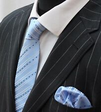 Tie Neck tie with Handkerchief Light Blue With Stripes & small rectangles