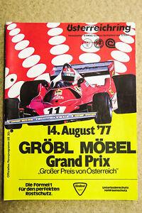 Formel 1 Renn-Programm Österreichring Zeltweg 1977