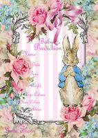 12  Peter Rabbit Baby Girl prediction cards baby shower game keepsake pink party